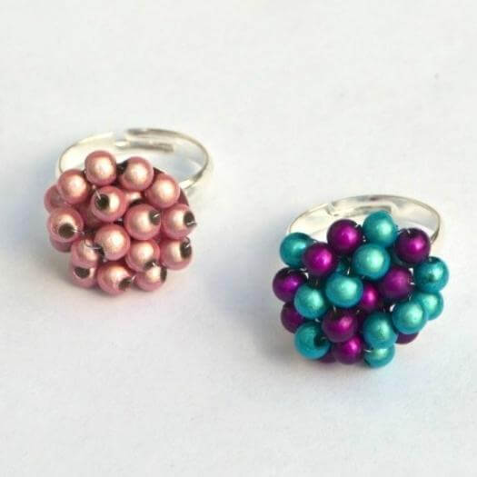 Beaded Cluster Rings Unique Mothers Day DIY Homemade Crafting Gift Ideas Inspiration How To Make Tutorials Recipes Gifts To Make