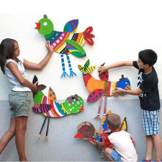 Big Cardboard Birds Mexican Mothers Day DIY Homemade Crafting Gift Ideas Inspiration How To Make Tutorials Recipes Gifts To Make
