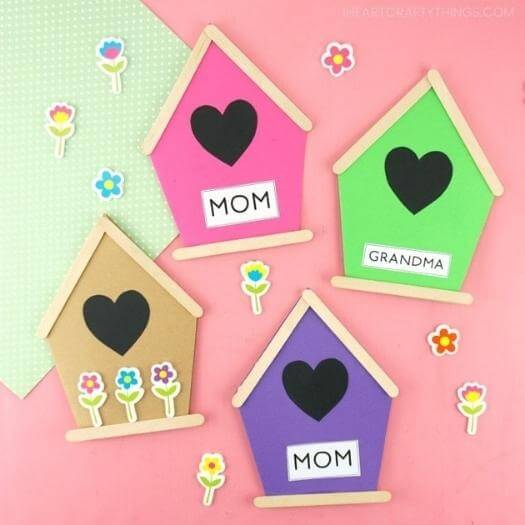 Birdhouse Card Best Mothers Day DIY Homemade Crafting Gift Ideas Inspiration How To Make Tutorials Recipes Gifts To Make