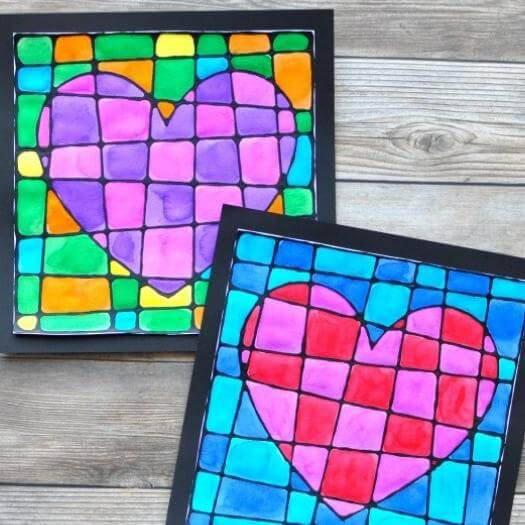 Black Glue Heart Art Project Best Mothers Day DIY Homemade Crafting Gift Ideas Inspiration How To Make Tutorials Recipes Gifts To Make