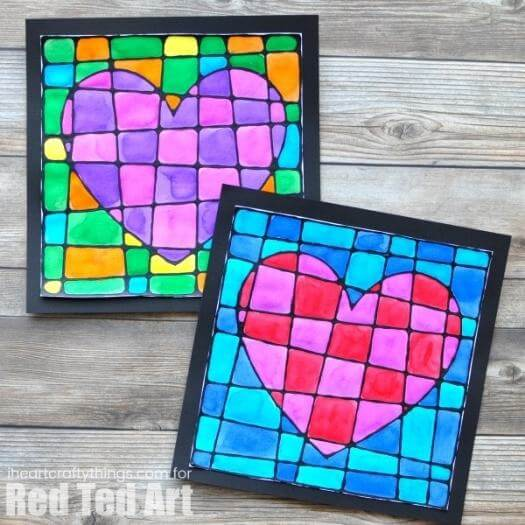 Black Glue Hearts Kids Mothers Day DIY Homemade Crafting Gift Ideas Inspiration How To Make Tutorials Recipes Gifts To Make