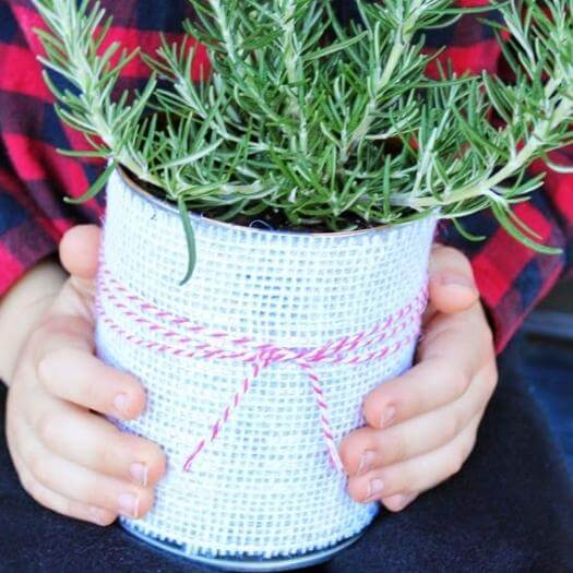 Burlap Tin Can Planter Sister Mothers Day DIY Homemade Crafting Gift Ideas Inspiration How To Make Tutorials Recipes Gifts To Make