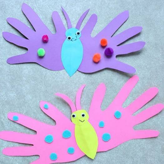 Butterfly Handprint Card Kids Mothers Day DIY Homemade Crafting Gift Ideas Inspiration How To Make Tutorials Recipes Gifts To Make