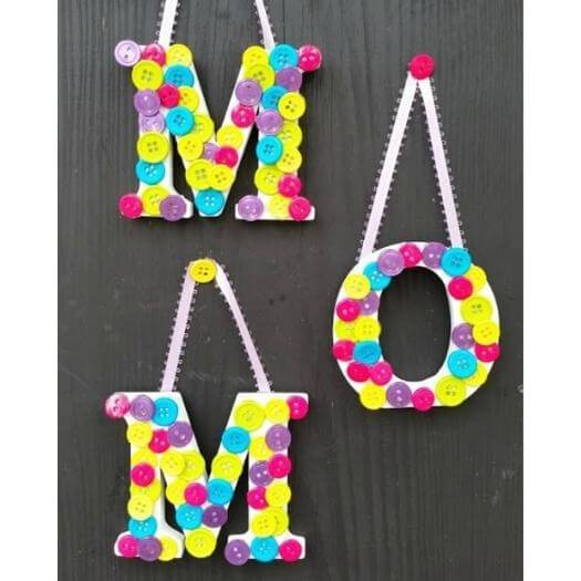 Button Letters Kids Mothers Day DIY Homemade Crafting Gift Ideas Inspiration How To Make Tutorials Recipes Gifts To Make