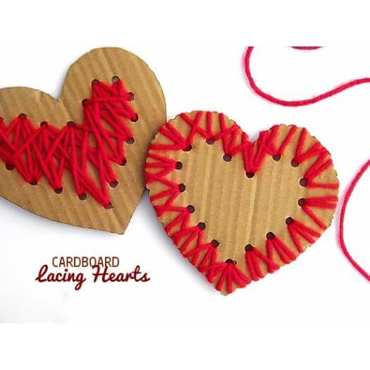 Cardboard Lacing Hearts Kids Mothers Day DIY Homemade Crafting Gift Ideas Inspiration How To Make Tutorials Recipes Gifts To Make