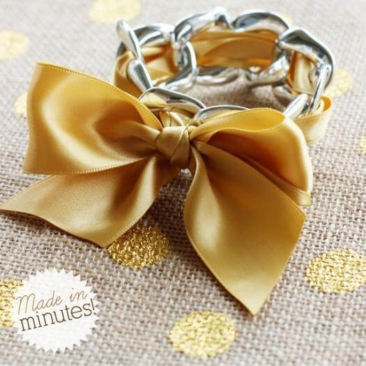 Chain and Ribbon Bracelet Unique Mothers Day DIY Homemade Crafting Gift Ideas Inspiration How To Make Tutorials Recipes Gifts To Make