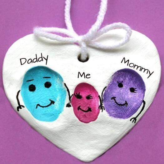 Clay Fingerprint Ornaments Kids Mothers Day DIY Homemade Crafting Gift Ideas Inspiration How To Make Tutorials Recipes Gifts To Make