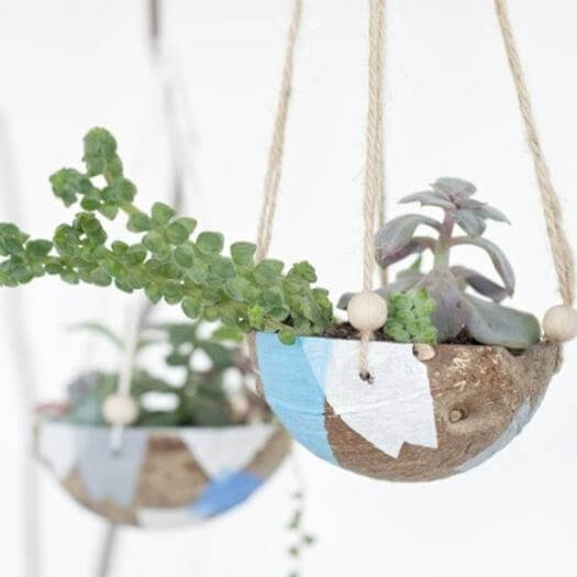 Coconut Hanging Planter Easy Last Minute Mothers Day DIY Homemade Crafting Gift Ideas Inspiration How To Make Tutorials Recipes Gifts To Make