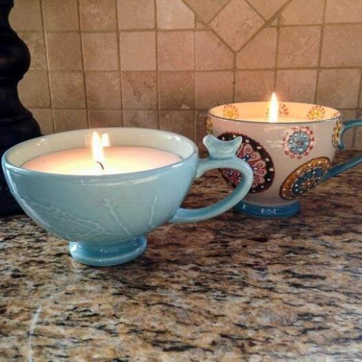Coffee Cup Candles Easy Last Minute Mothers Day DIY Homemade Crafting Gift Ideas Inspiration How To Make Tutorials Recipes Gifts To Make