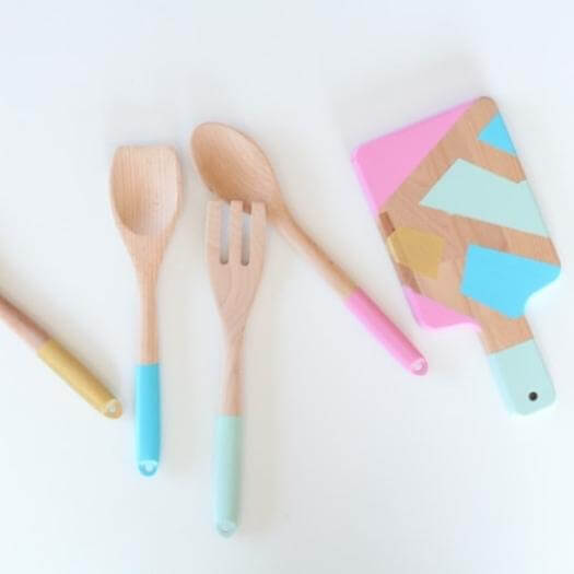 Color Blocked Utensils Best Mothers Day DIY Homemade Crafting Gift Ideas Inspiration How To Make Tutorials Recipes Gifts To Make