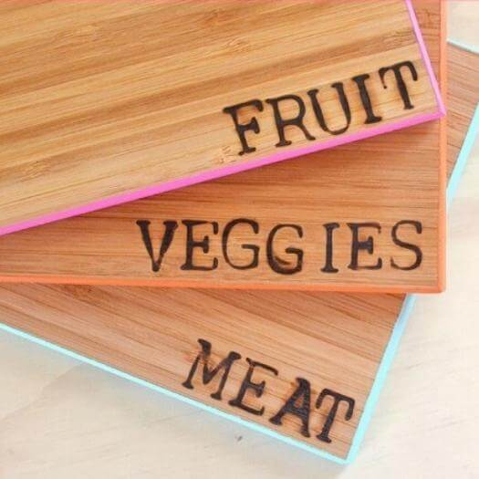 Color Coded Cutting Boards Best Mothers Day DIY Homemade Crafting Gift Ideas Inspiration How To Make Tutorials Recipes Gifts To Make