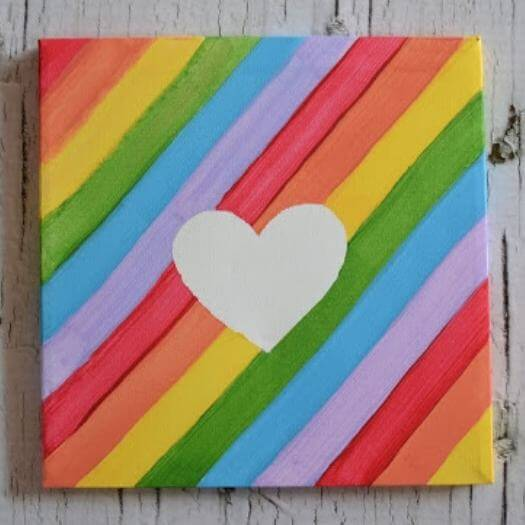 Colorful Canvas Kids Mothers Day DIY Homemade Crafting Gift Ideas Inspiration How To Make Tutorials Recipes Gifts To Make