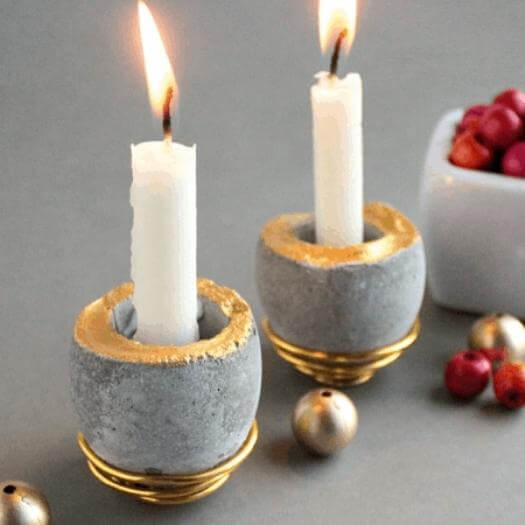 Concrete Candle Holders Cheap Affordable Mothers Day DIY Homemade Crafting Gift Ideas Inspiration How To Make Tutorials Recipes Gifts To Make
