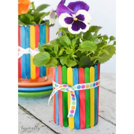 Craft Stick Flower Pot Kids Mothers Day DIY Homemade Crafting Gift Ideas Inspiration How To Make Tutorials Recipes Gifts To Make