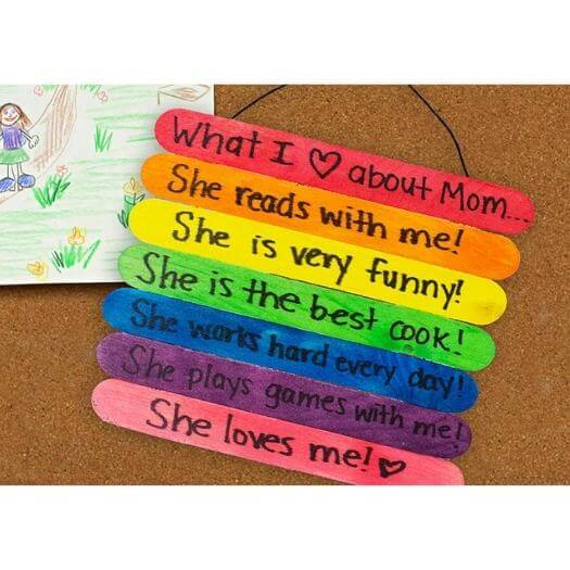Craft Stick Mother's Day Sign Kids Mothers Day DIY Homemade Crafting Gift Ideas Inspiration How To Make Tutorials Recipes Gifts To Make