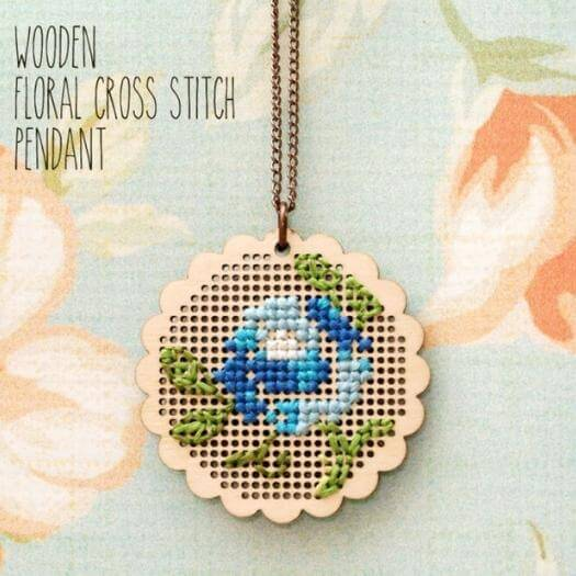 Cross Stitch Pendant Unique Mothers Day DIY Homemade Crafting Gift Ideas Inspiration How To Make Tutorials Recipes Gifts To Make