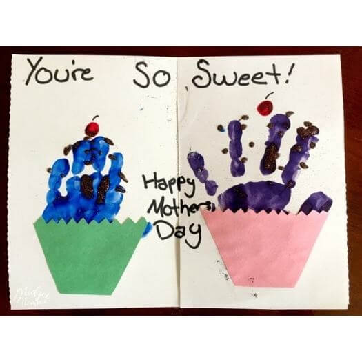Cupcake Handprint Card Kids Mothers Day DIY Homemade Crafting Gift Ideas Inspiration How To Make Tutorials Recipes Gifts To Make