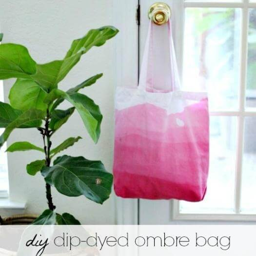 Dip-Dyed Ombre Bag Best Mothers Day DIY Homemade Crafting Gift Ideas Inspiration How To Make Tutorials Recipes Gifts To Make