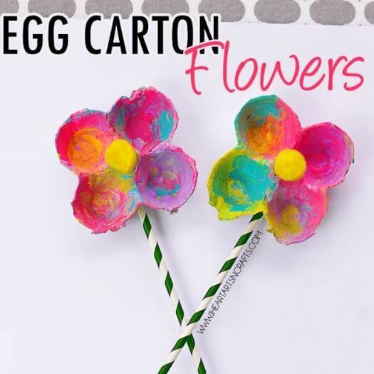 Egg Carton Flowers Kids Mothers Day DIY Homemade Crafting Gift Ideas Inspiration How To Make Tutorials Recipes Gifts To Make