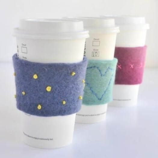 Embroidered Coffee Cozies Personalized Mothers Day DIY Homemade Crafting Gift Ideas Inspiration How To Make Tutorials Recipes Gifts To Make