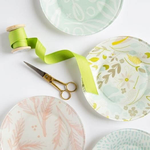 Fabric Lined Glass Plates Best Mothers Day DIY Homemade Crafting Gift Ideas Inspiration How To Make Tutorials Recipes Gifts To Make