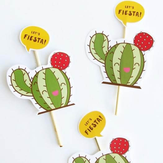 Fiesta Cupcake Toppers Mexican Mothers Day DIY Homemade Crafting Gift Ideas Inspiration How To Make Tutorials Recipes Gifts To Make