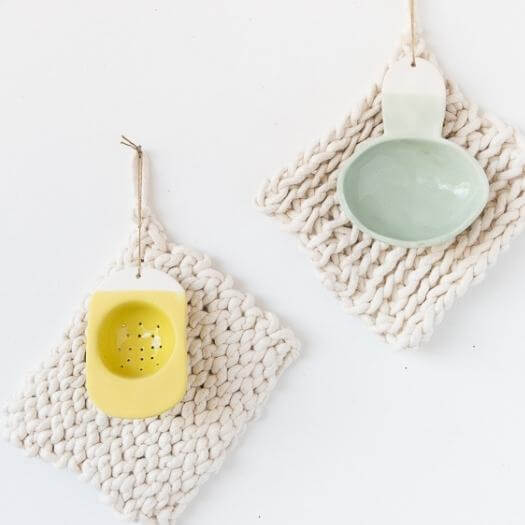 Finger Crochet Potholders Kids Mothers Day DIY Homemade Crafting Gift Ideas Inspiration How To Make Tutorials Recipes Gifts To Make