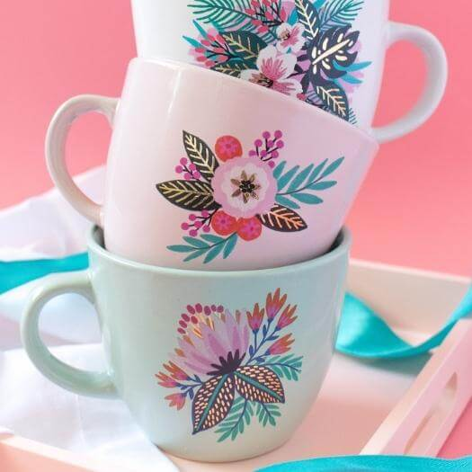 Floral Tattoo Mugs Cheap Affordable Mothers Day DIY Homemade Crafting Gift Ideas Inspiration How To Make Tutorials Recipes Gifts To Make