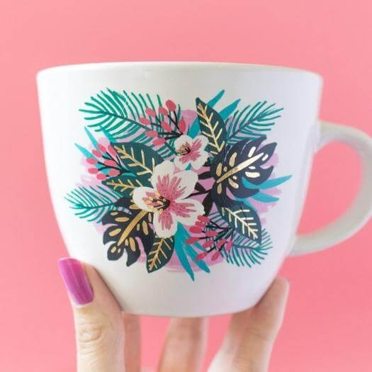 Floral Temporary Tattoo Mugs Best Mothers Day DIY Homemade Crafting Gift Ideas Inspiration How To Make Tutorials Recipes Gifts To Make