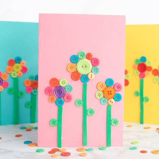 Flower Button Art Kids Mothers Day DIY Homemade Crafting Gift Ideas Inspiration How To Make Tutorials Recipes Gifts To Make