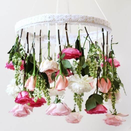 Flower Chandelier Best Mothers Day DIY Homemade Crafting Gift Ideas Inspiration How To Make Tutorials Recipes Gifts To Make