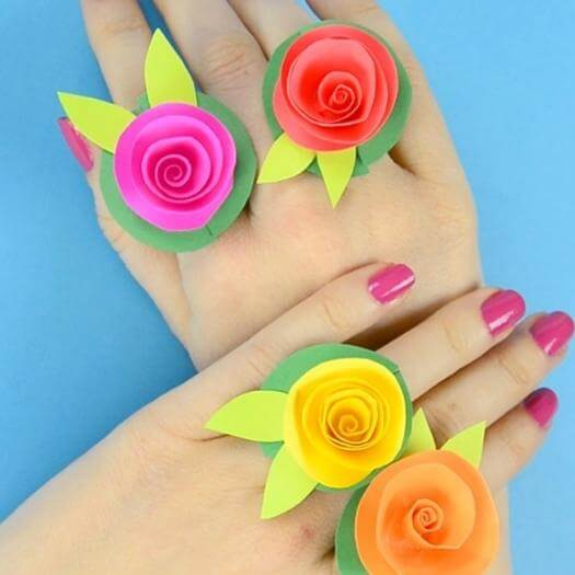 Flower Paper Rings Best Mothers Day DIY Homemade Crafting Gift Ideas Inspiration How To Make Tutorials Recipes Gifts To Make