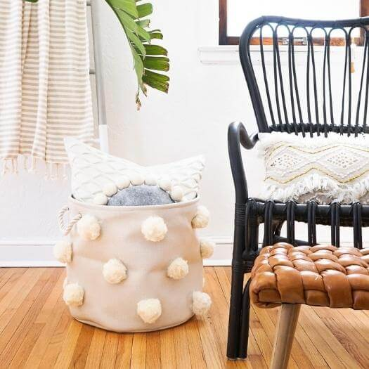 Fluffy Pom Pom Bin Best Mothers Day DIY Homemade Crafting Gift Ideas Inspiration How To Make Tutorials Recipes Gifts To Make