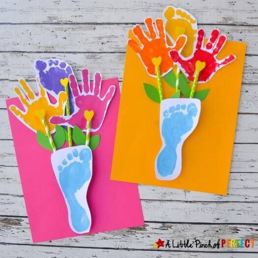 Footprint Flowers Kids Mothers Day DIY Homemade Crafting Gift Ideas Inspiration How To Make Tutorials Recipes Gifts To Make