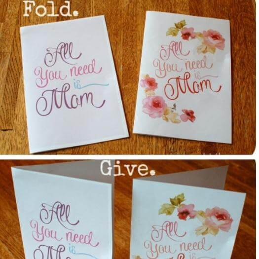 Free Mother's Day Card Cheap Affordable Mothers Day DIY Homemade Crafting Gift Ideas Inspiration How To Make Tutorials Recipes Gifts To Make