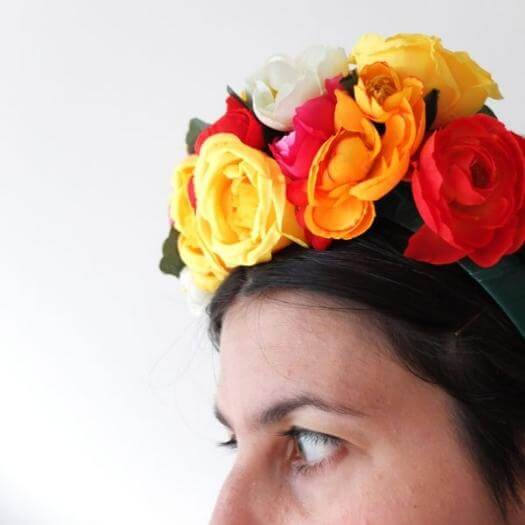 Frida Kahlo Inspired Floral Headband Mexican Mothers Day DIY Homemade Crafting Gift Ideas Inspiration How To Make Tutorials Recipes Gifts To Make