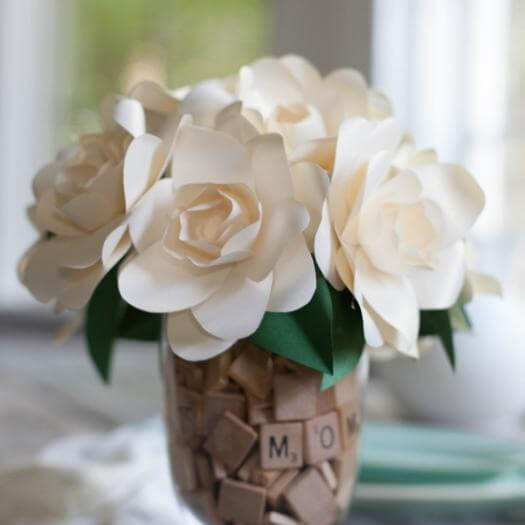 Frosted Paper Gardenia Cheap Affordable Mothers Day DIY Homemade Crafting Gift Ideas Inspiration How To Make Tutorials Recipes Gifts To Make