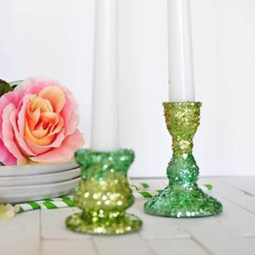Glitter Candle Holders Best Mothers Day DIY Homemade Crafting Gift Ideas Inspiration How To Make Tutorials Recipes Gifts To Make