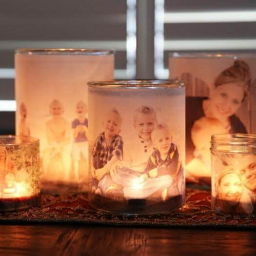 Glowing Photo Luminaries Personalized Mothers Day DIY Homemade Crafting Gift Ideas Inspiration How To Make Tutorials Recipes Gifts To Make