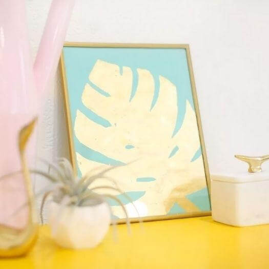 Gold Leaf Art Print Personalized Mothers Day DIY Homemade Crafting Gift Ideas Inspiration How To Make Tutorials Recipes Gifts To Make