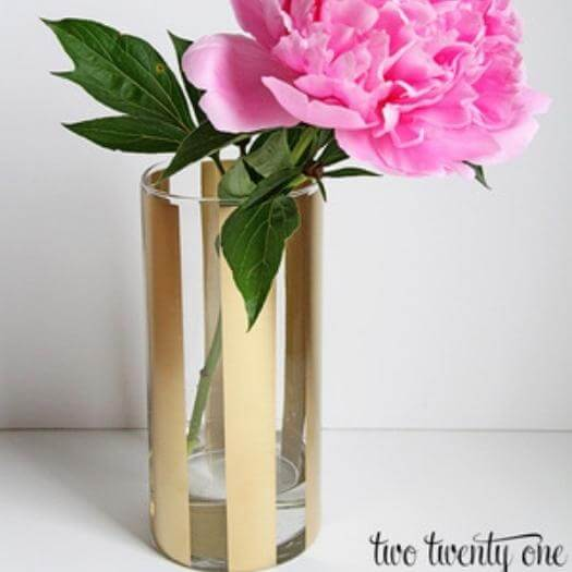 Gold Striped Vases Sister Mothers Day DIY Homemade Crafting Gift Ideas Inspiration How To Make Tutorials Recipes Gifts To Make