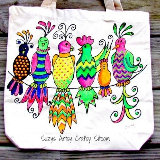 Gossiping Birds Tote Unique Mothers Day DIY Homemade Crafting Gift Ideas Inspiration How To Make Tutorials Recipes Gifts To Make