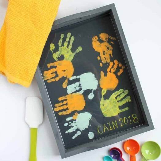 Hand Print Tray Kids Mothers Day DIY Homemade Crafting Gift Ideas Inspiration How To Make Tutorials Recipes Gifts To Make