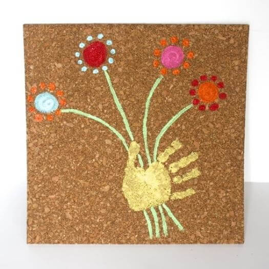 Handprint Art On Cork Board Kids Mothers Day DIY Homemade Crafting Gift Ideas Inspiration How To Make Tutorials Recipes Gifts To Make
