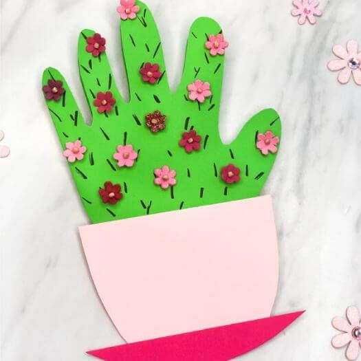 Handprint Cactus Card Kids Mothers Day DIY Homemade Crafting Gift Ideas Inspiration How To Make Tutorials Recipes Gifts To Make