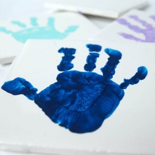 Handprint Coasters Kids Mothers Day DIY Homemade Crafting Gift Ideas Inspiration How To Make Tutorials Recipes Gifts To Make