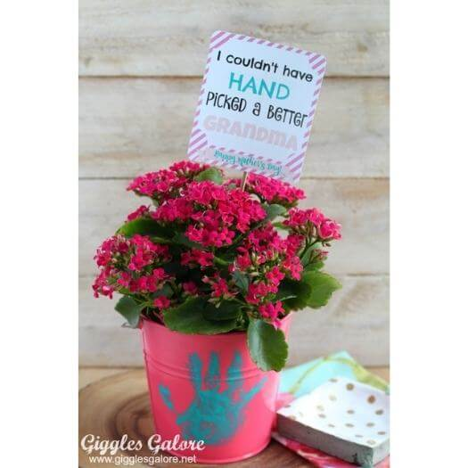 Handprint Flower Pot Kids Mothers Day DIY Homemade Crafting Gift Ideas Inspiration How To Make Tutorials Recipes Gifts To Make