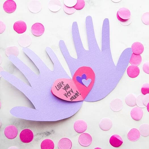 Handprint Paper Craft Kids Mothers Day DIY Homemade Crafting Gift Ideas Inspiration How To Make Tutorials Recipes Gifts To Make