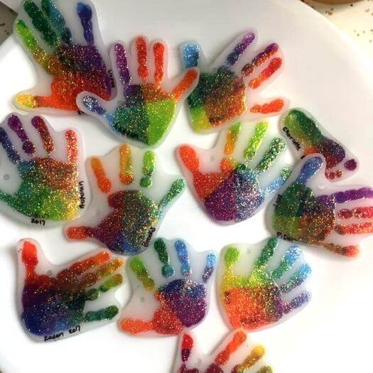 Handprint Shrinky Dink Keychains Kids Mothers Day DIY Homemade Crafting Gift Ideas Inspiration How To Make Tutorials Recipes Gifts To Make