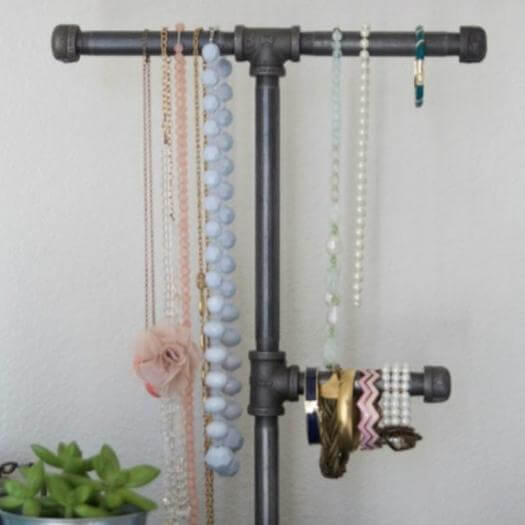 Industrial Pipe Jewelry Organizer Sister Mothers Day DIY Homemade Crafting Gift Ideas Inspiration How To Make Tutorials Recipes Gifts To Make